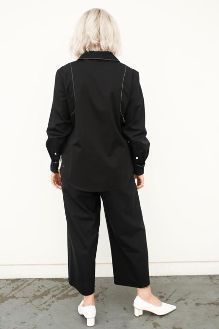 Lorod Long Sleeve Bowling Shirt - Poplin Black