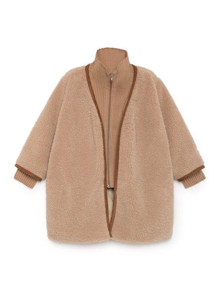 Kids Bobo Choses Sheep Skin Layered Coat - Tan