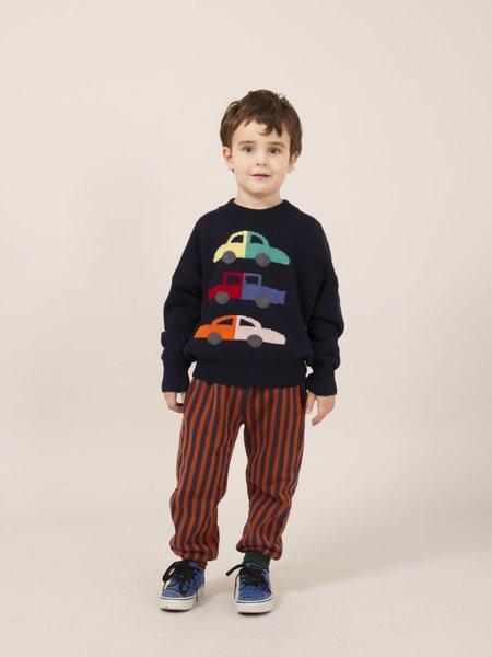 Kids Bobo Choses Vertical Stripes Track Pant - Navy/Brick Stripe