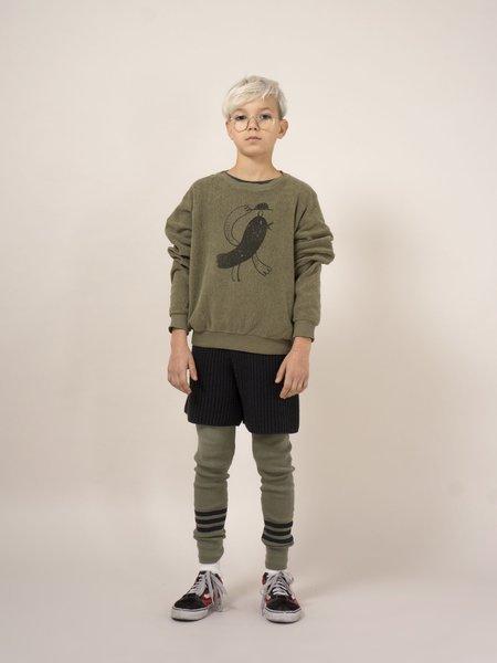 Kids Bobo Choses Bird Sheepskin Fleece Sweatshirt - Camo Green
