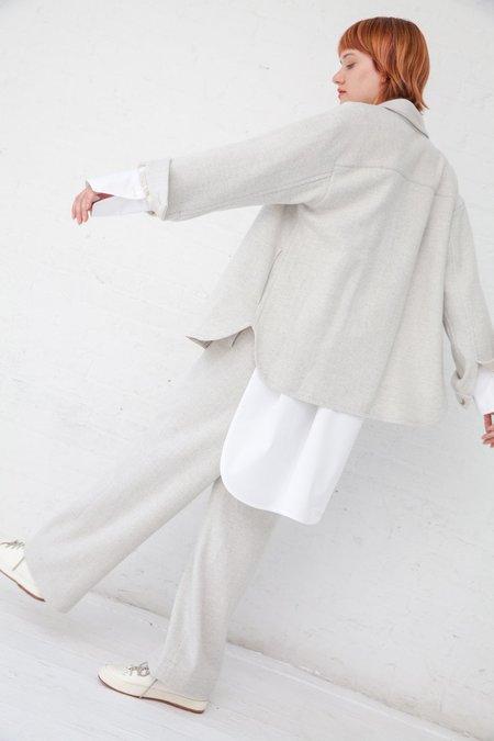 Tomorrowland Side Gathered Pant - Beige Herringbone