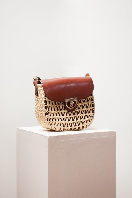 Vintage Hazel & Rose Leather Bag - natural/red