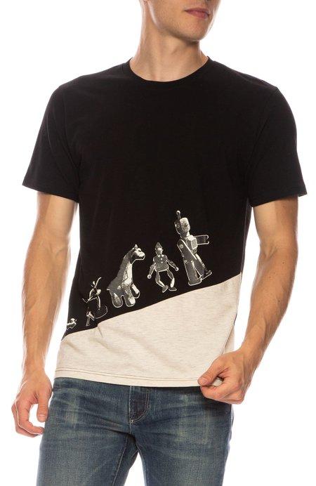 TEE LIBRARY Parade T-shirt - BLACK/MELANGE