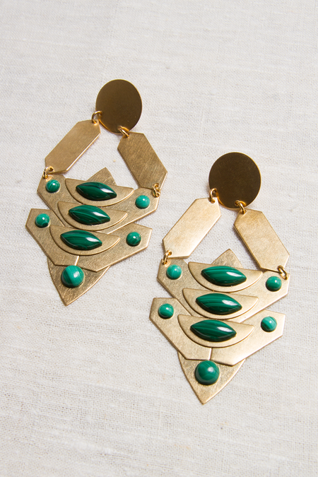 Sandy Hyun Goddess Drop Earrings - gold/green