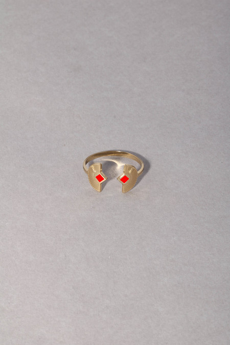 Anne Thomas Grazia Adjustable Ring - Neon Red
