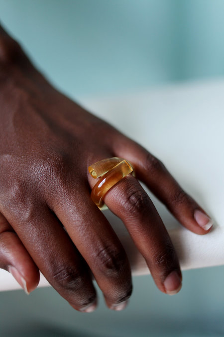 Corey Moranis Lucite Wrap Ring - Yellow