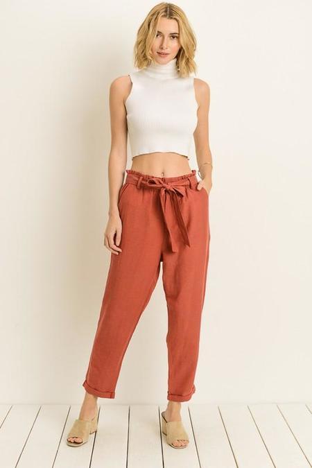 Le Lis Birdie High-Waist Linen Blend Pants - Brick