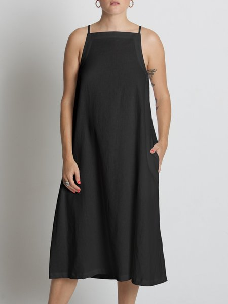 Beth Yard Linen Dress - Black