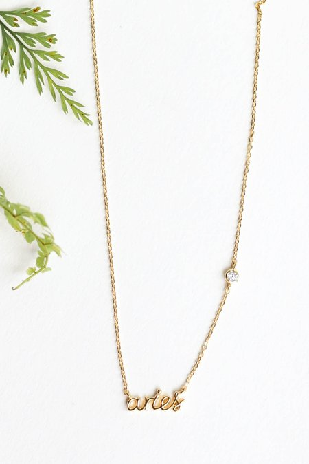 TAI Zodiac Nameplate Necklace - GOLD