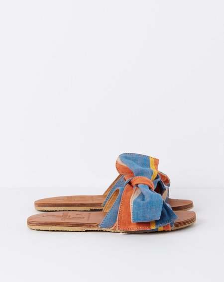 Brother Vellies Burkina Slide - Topanga Papaye Stripe