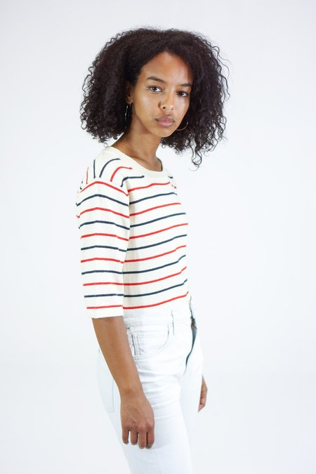 Trovata Lauren Short Sleeve Sweater Tee - White/Red/Navy Stripes