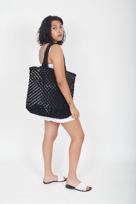 The Beach People Macrame Cotton Cord Tote Bag - Black