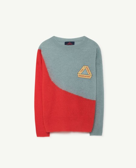 Kids Unisex The Animals Observatory Bull Sweater - Soft Blue/Red
