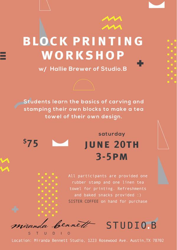 Workshop IV : Block Printing with Studio.B