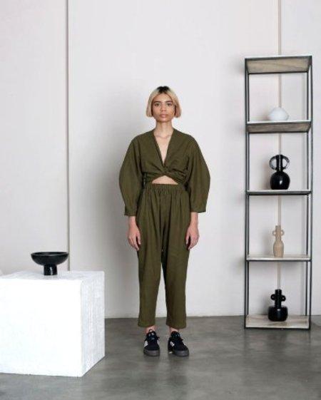Selfi Oval Sleeve Jumpsuit - Olive Green