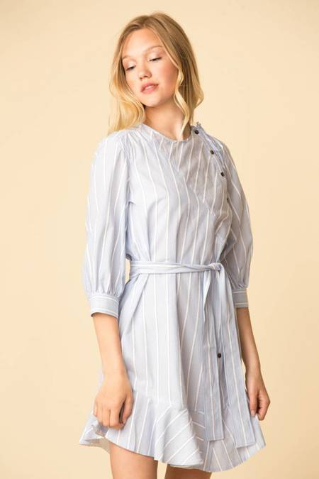 Derek Lam L/S Belted Dress with Asymmetrical Placket - PALE BLUE