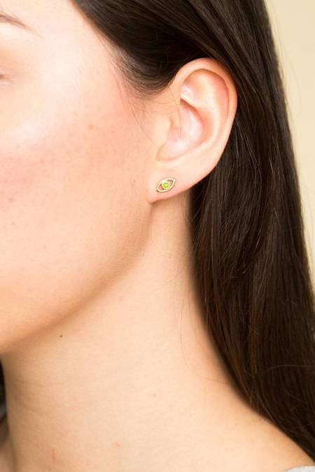 Ileana Makri Mini Eye Studs - GREEN