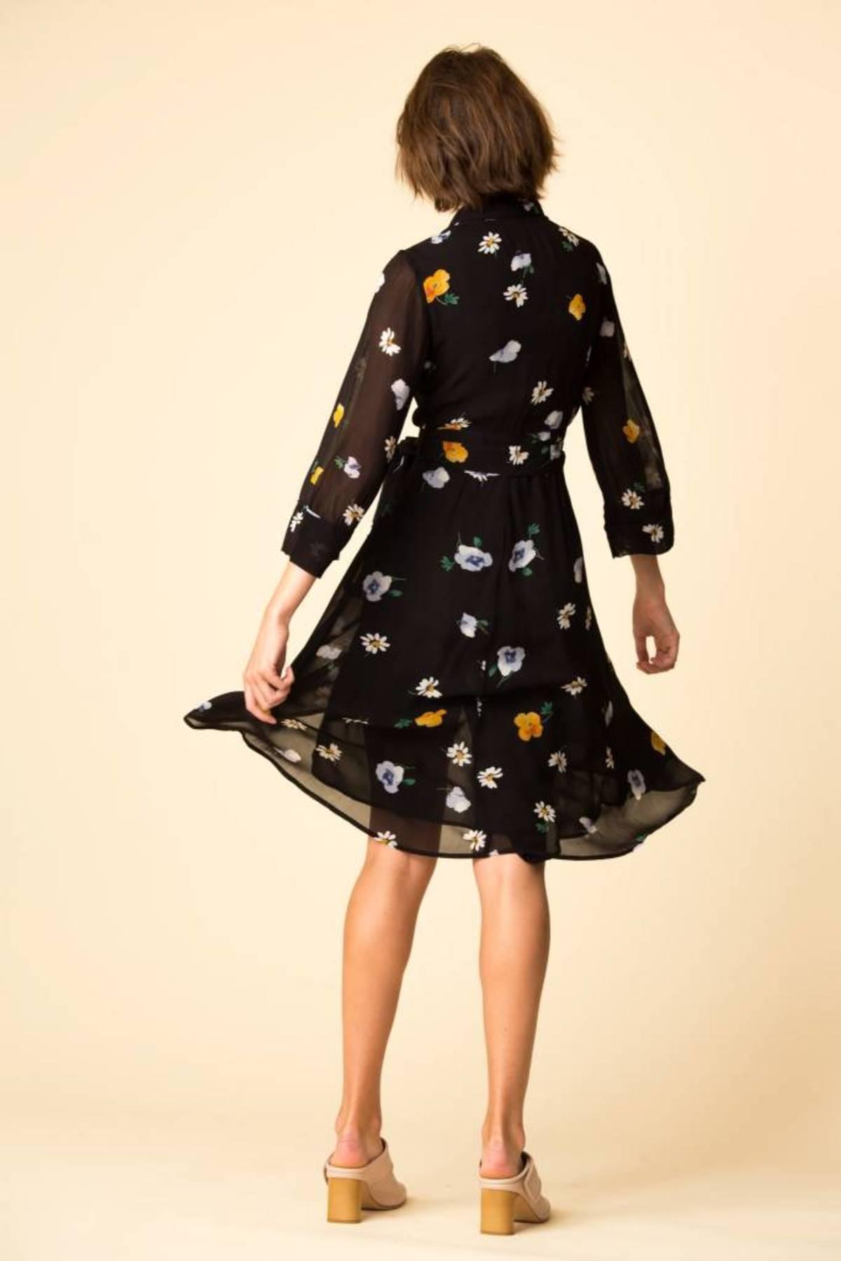 55330266fbda Ganni Dainty Georgette Wrap Dress - BLACK