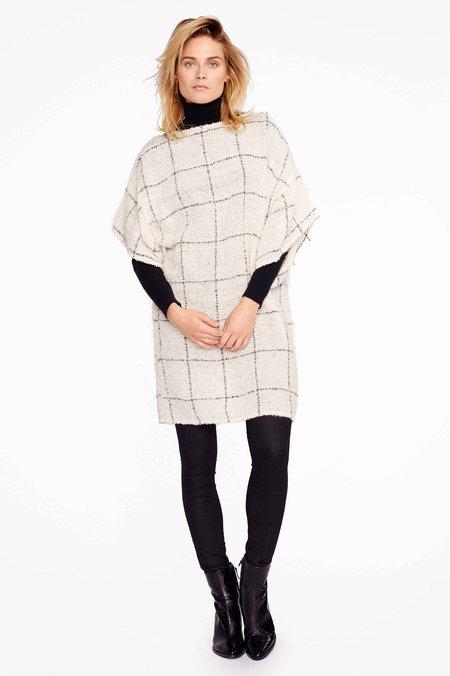 AYNI Katari Ivory Check Woven Alpaca Tunic Dress - Ivory