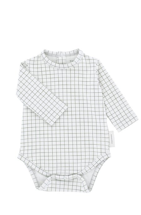 Kids Tinycottons Grid Long Sleeve Body - Grey/Green