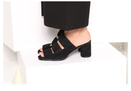 INTENTIONALLY __________. Chiara Suede Sandal - BLACK
