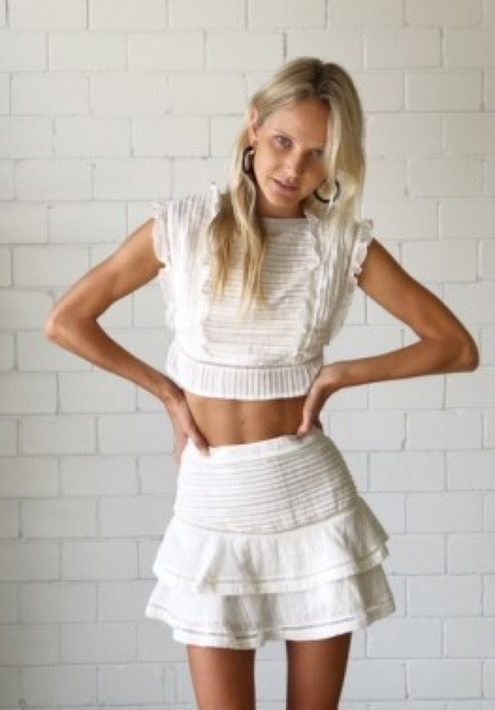SIR The Label Ciel Layered Mini Skirt - WHITE