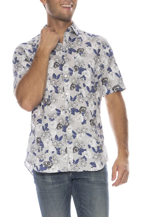 TODAY IS BEAUTIFUL / RON HERMAN Exclusive Mussola Big Floral Short Sleeve Shirt - GREY/BLUE