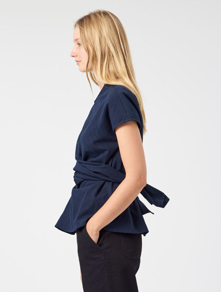 Studio Nicholson Corsa Top - Dark Navy Herringbone