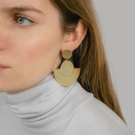 One Story Large Curve Earrings - brass