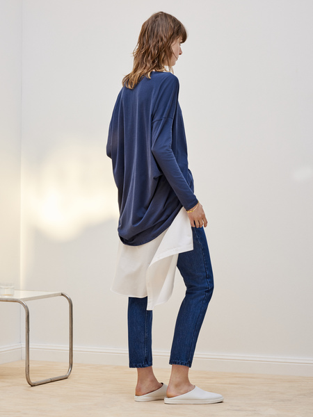 Kowtow Building Block Drape Top in Navy Blue