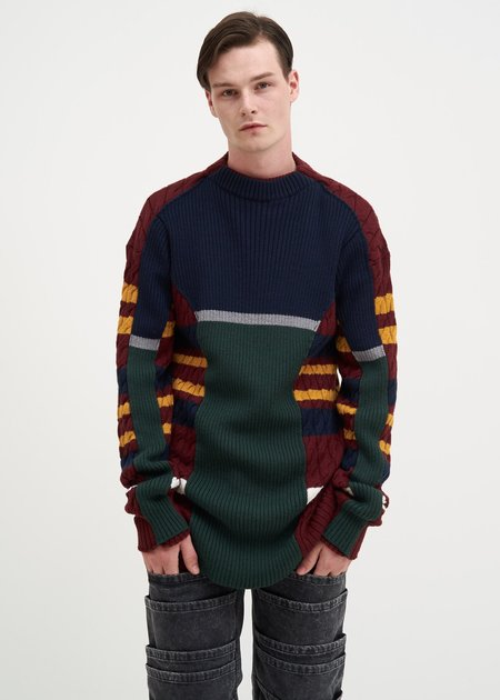 Y/project Skinny Knit Sweater - Navy/Red