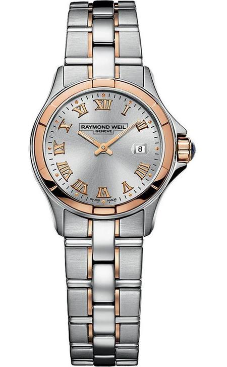 Raymond Weil Parsifal Silver Dial Stainless Steel Watch - Silver/Rose Gold