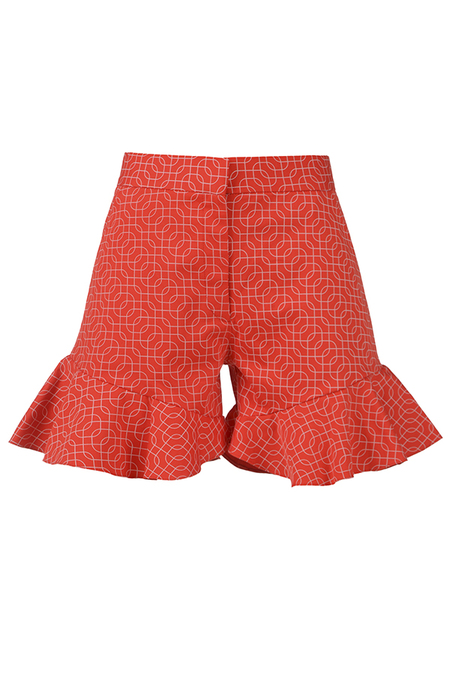 N-DUO ruffled shorts - Red