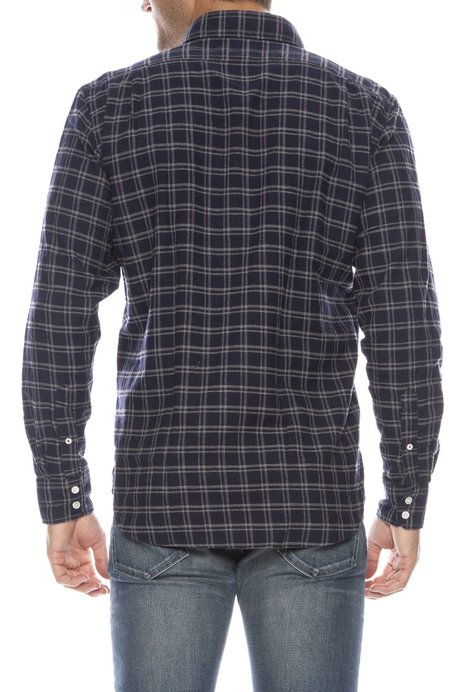 Hartford Paul Checkered Flannel Button Down - GREY/NAVY