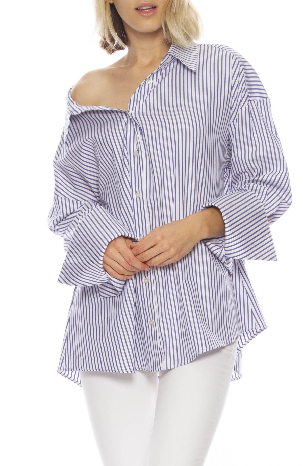 b6dfe7bbe03573 Caroline Constas Newell Cotton Top - Blue/White   Garmentory