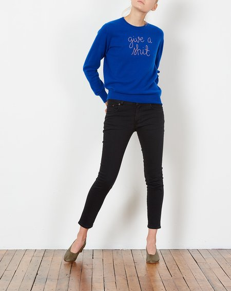 Lingua Franca Give A Shit Embroidered Cashmere Sweater - Cobalt