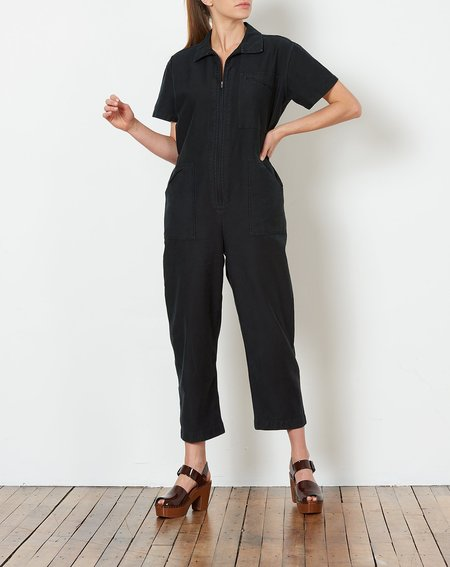 Caron Callahan Zip Foster Jumpsuit - Faded Black Cotton Twill