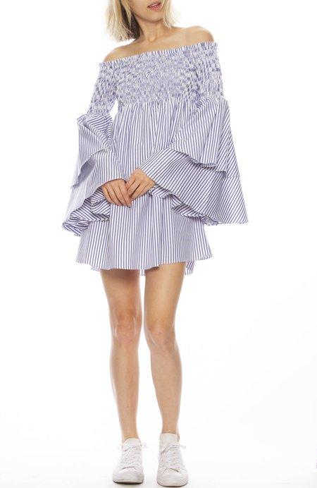 CAROLINE CONSTAS Appolina Striped Dress - Royal Blue