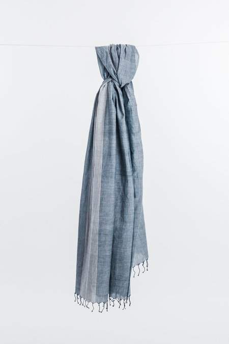 Indigo Handloom Faded Denim Scarf