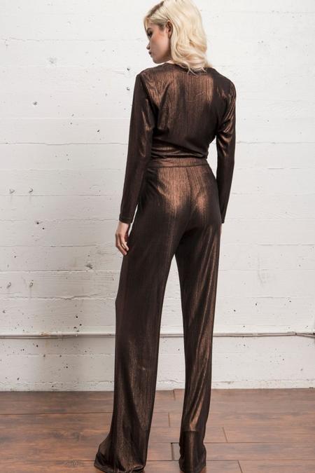 WYLDR metallic palazzo pants - COPPER