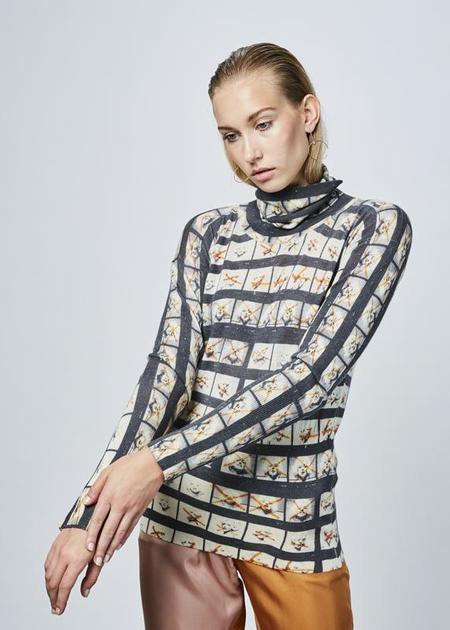 Printed Artworks Printed Cashmere Blend Turtleneck - grey/blonde