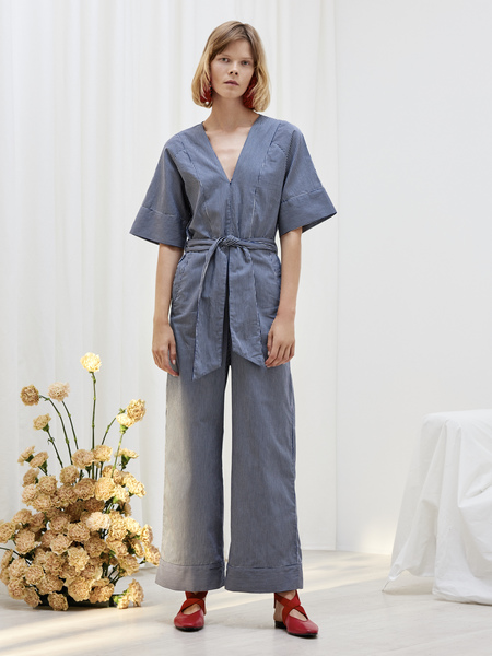 Kowtow Derby Jumpsuit in Navy Stripe