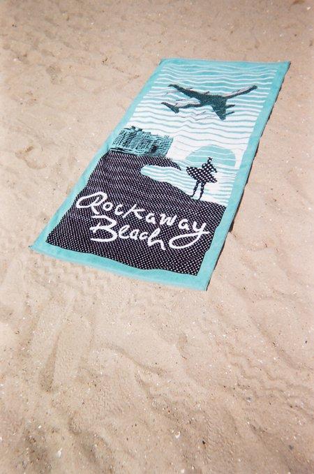 Rockaway Beach Souvenir Terry Towel - Teal