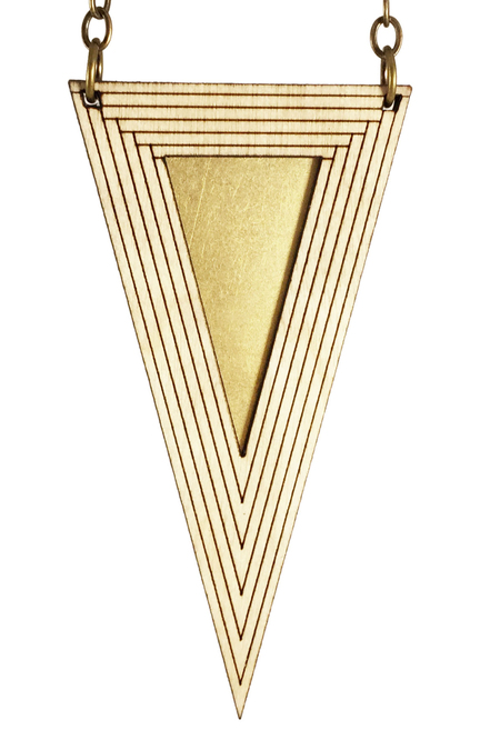 Diamonds Are Evil djet long triangle necklace - BRASS/WOOD