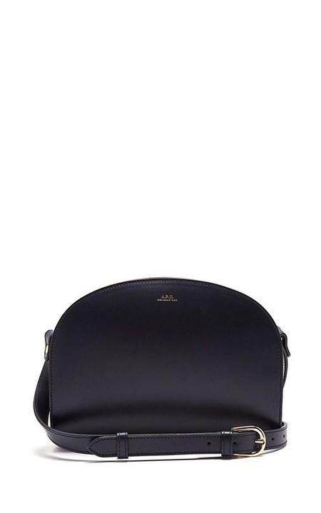 A.P.C. Demi-Lune Leather Shoulder Bag - Navy