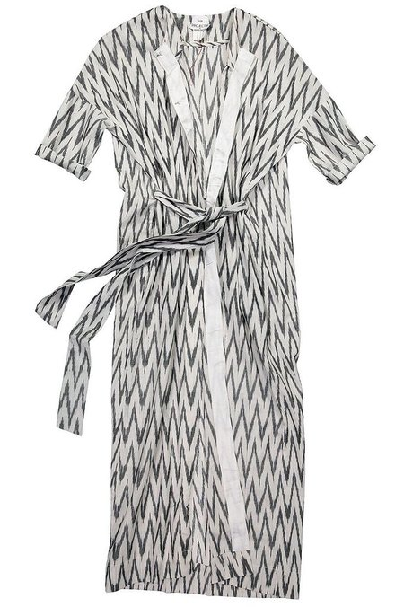 Project 6 Akani Robe Tunic - WHITE WITH GREY ZIG ZAG
