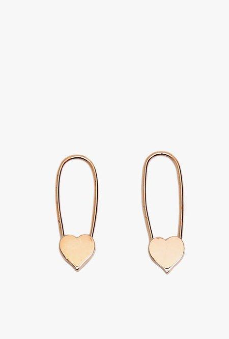 Loren Stewart Heart Safety Pin Earrings