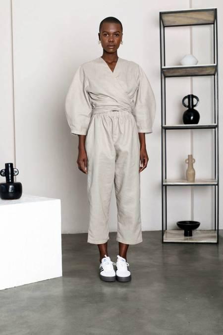 Selfi Oval Sleeve Jumpsuit - Stone