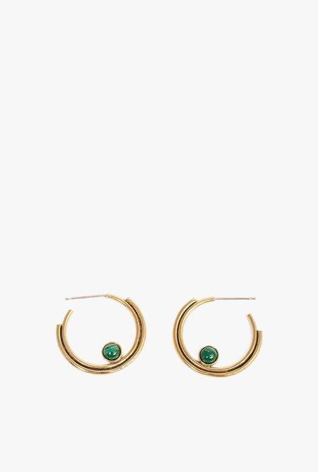 Artifacts Malachite Arc Hoop Earrings - Brass