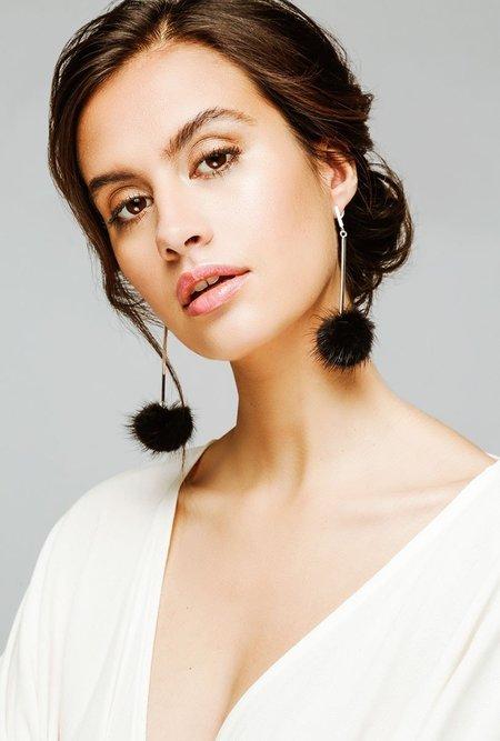 Tuleste Mink Pom Pom Earrings - BLACK
